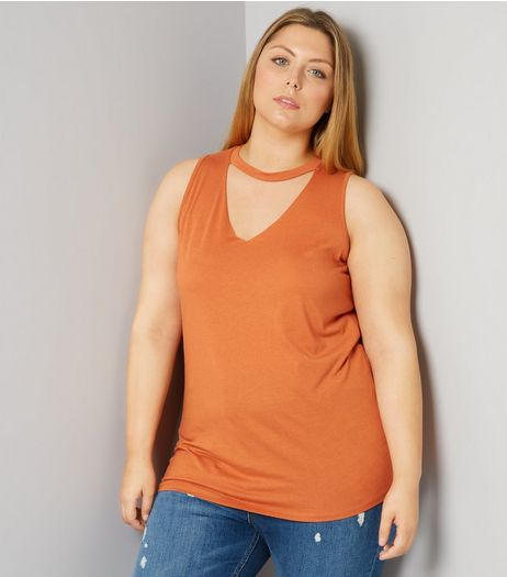 Curves Orange Choker Neck Tank Top | New Look