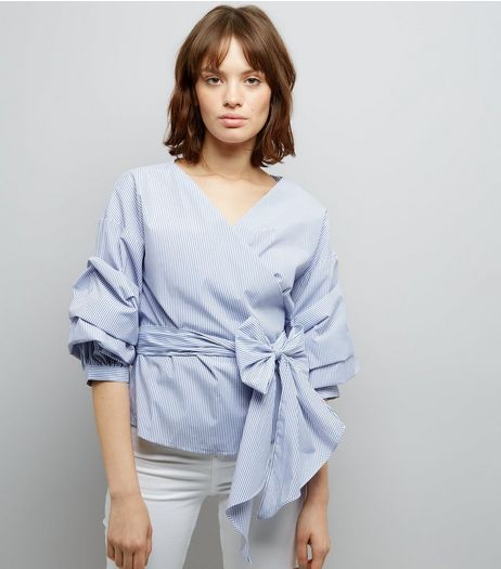 Blue Stripe Ruched Sleeve Wrap Front Top | New Look