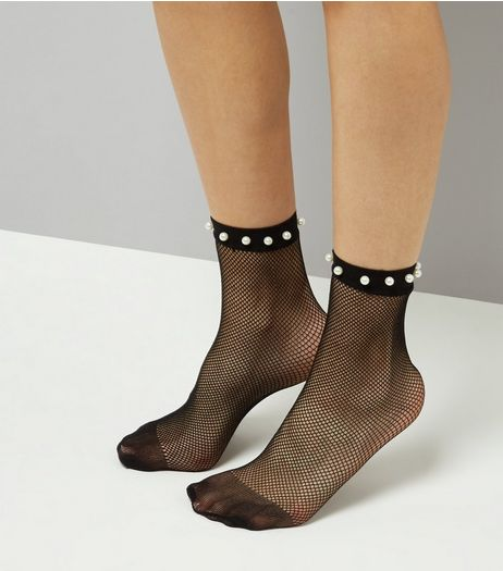 Black Pearl Embellished Fishnet Socks | New Look