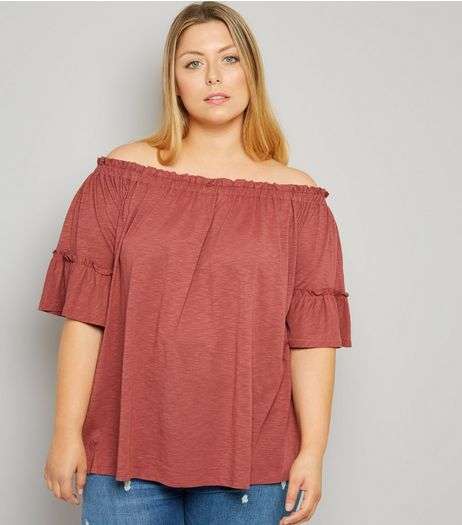 Curves Orange Bell Sleeve Bardot Neck Top | New Look