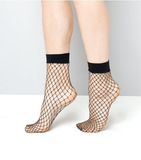 Black Metallic Fishnet Socks | New Look
