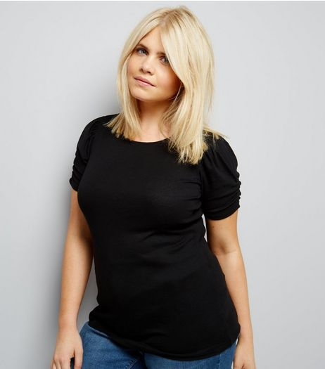 Curves Black Ruched Sleeve T-Shirt | New Look