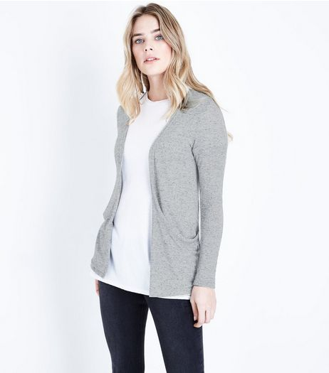 Grey Fine Knit Boyfriend Cardigan  | New Look