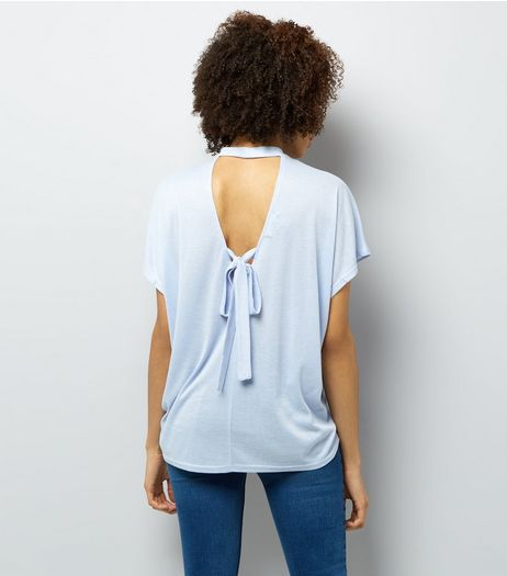 Pale Blue Choker Neck Tie Back T-Shirt | New Look