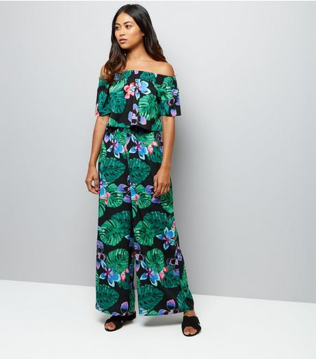 Petite Black Tropical Print Wide Leg Trousers | New Look
