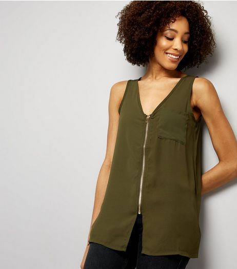 Apricot Olive Green Crepe Single Pocket Zip Front Top | New Look