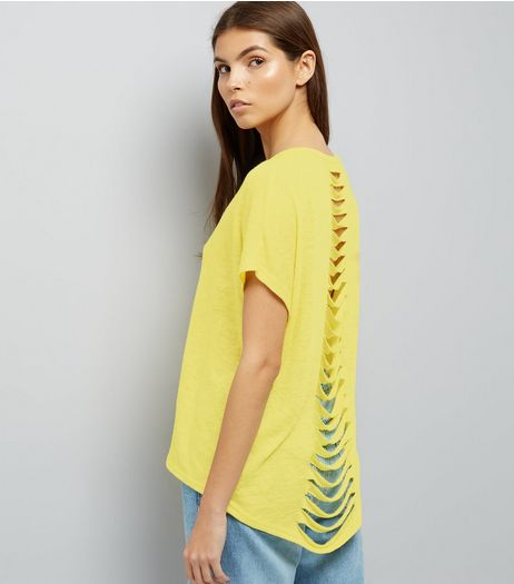 Yellow Cut Out Back T-Shirt  | New Look