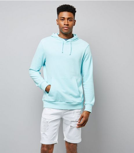Mint Green Washed Pocket Front Hoodie | New Look