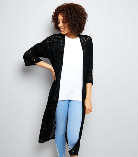 Black Crochet Maxi Cardigan | New Look