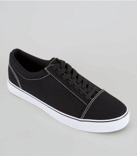 Black Contrast Stitch Trainers | New Look