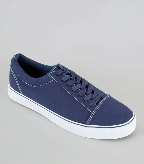 Blue Contrast Stitch Trainers | New Look