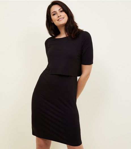 Maternity Black Layered Nursing Dress | New Look