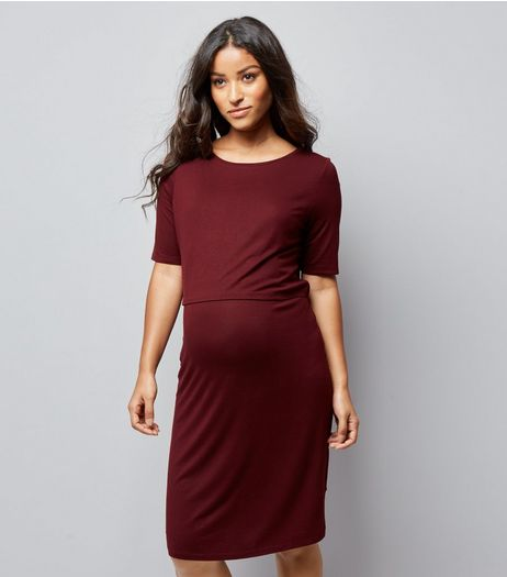 Maternity Burgundy Nursing Layered Midi Dress | New Look