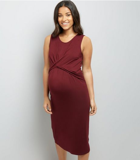 Maternity Burgundy Twist Front Midi Dress | New Look