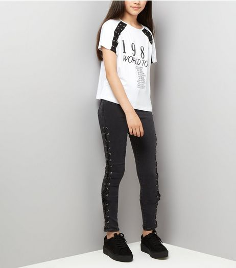 Teens Black Lattice Side Skinny Jeans  | New Look