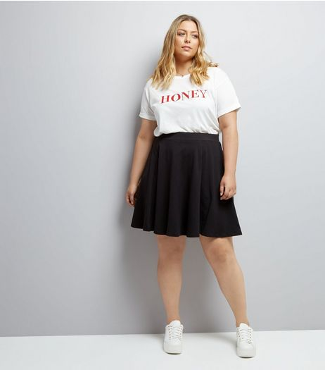 Curves Black High Waist Skater Skirt | New Look
