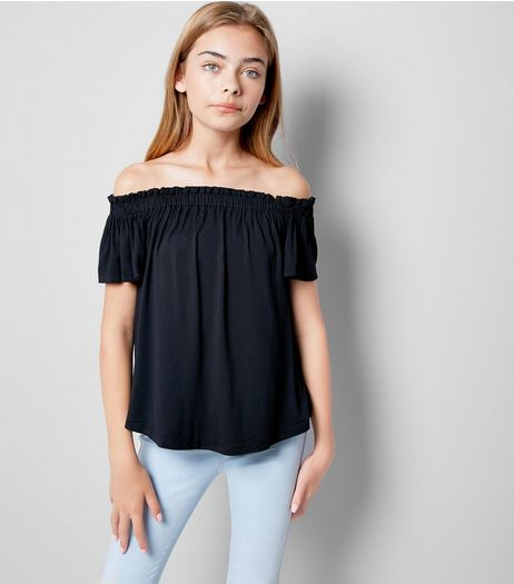 Teens Black Bardot Neck Top | New Look