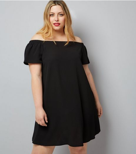 Curves Black Ruched Sleeve Bardot Neck Dress | New Look