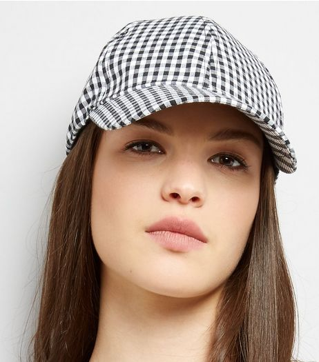 Black Gingham Cap | New Look