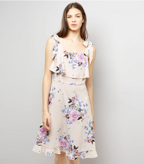 Tall Pink Floral Print Tie Strap Dress | New Look