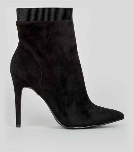Wide Fit Black Suedette Pointed Ankle Boots | New Look