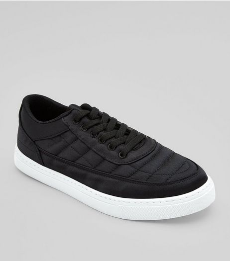 Black Quilted Slip On Trainers | New Look