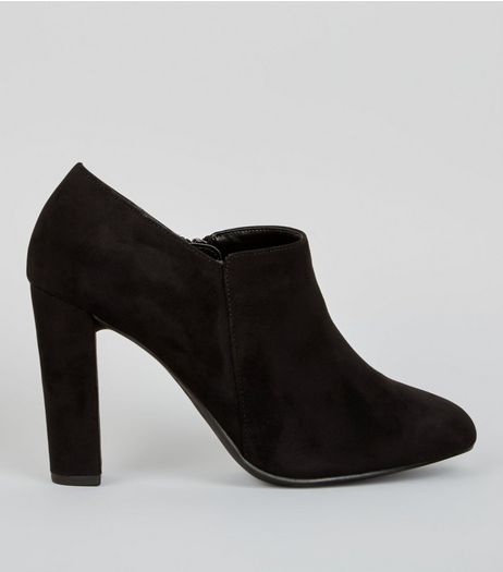 Wide Fit Black Suedette Block Heel Shoe Boots | New Look