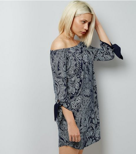 Navy Paisley Print Tie Sleeve Bardot Dress | New Look