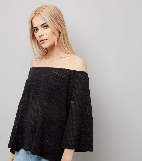 Black Bardot Neck 3/4 Sleeve Top | New Look