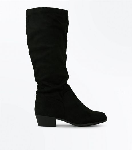 Wide Fit Black Black Suedette Slouchy Knee High Boots | New Look