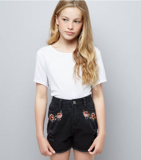 Teens Black Floral Embroidered Denim Shorts  | New Look