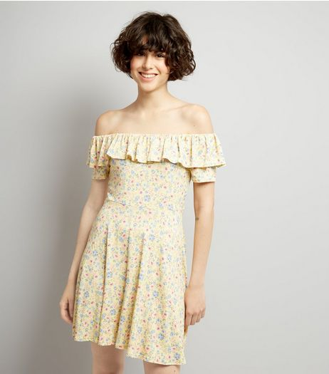 Yellow Floral Print Frill Trim Skater Dress | New Look