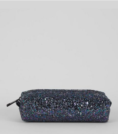 Black Glitter Pencil Case | New Look