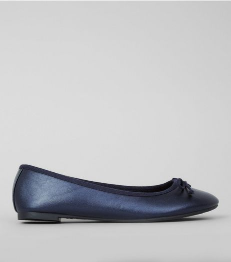 Blue Metallic Ballerina Pumps | New Look
