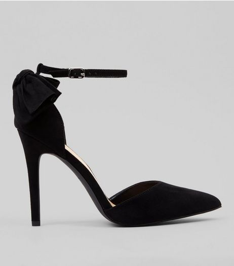Wide Fit Black Suedette Bow Back Pointed Heels | New Look