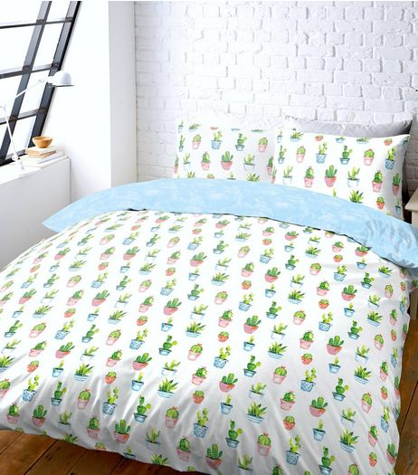 White Cactus Print Double Duvet Set | New Look
