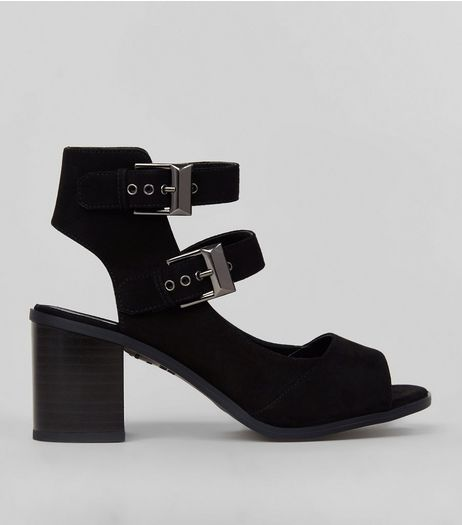 Teens Black Suedette Double Buckle Strap Block Heels  | New Look