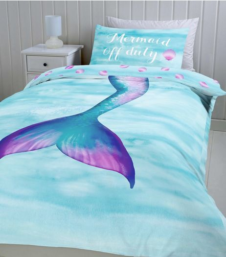 Blue Mermaid Off Duty Single Duvet Set | New Look