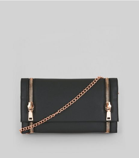 Black Double Zip Foldover Clutch | New Look