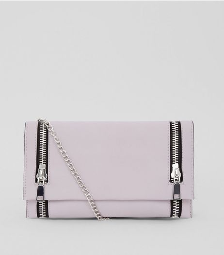 Lilac Double Zip Foldover Clutch | New Look