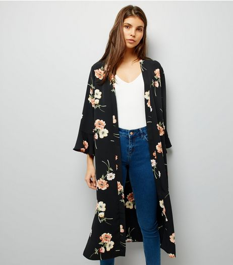 Black Floral Print Frill Sleeve Trim Kimono | New Look