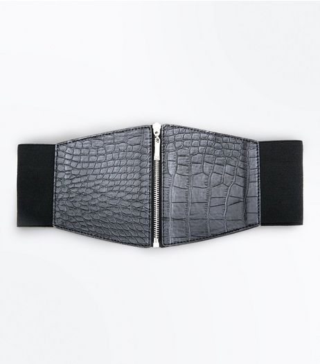 Black Croc Zip Up Waist Belt | New Look
