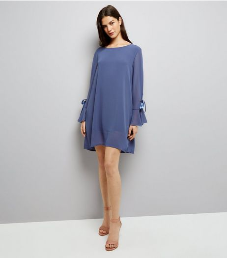 Mela Black Tie Sleeve Dress | New Look