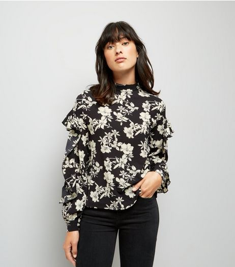 Blue Vanilla Black Floral Print Frill Sleeve Blouse | New Look