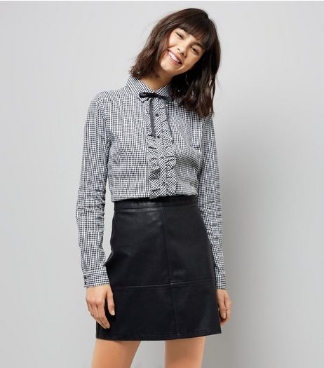 Blue Vanilla Black Gingham Frill Bow Neck Shirt | New Look