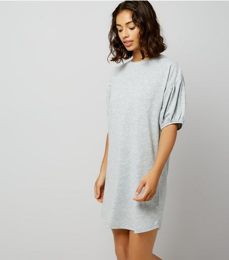 Petite Grey Marl Gathered Sleeve T-Shirt Dress | New Look
