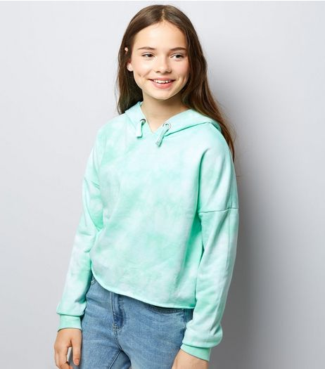 Teens Mint Green Tie Dye Hoodie | New Look