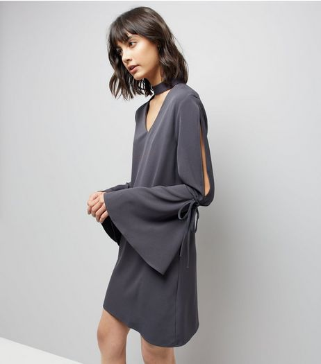 Blue Vanilla Grey Tie Sleeve Choker Mini Dress | New Look