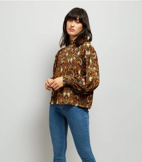 Blue Vanilla Yellow Floral Shirred Detail Top | New Look