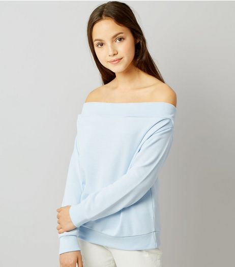 Teens Pale Blue Bardot Sweater | New Look